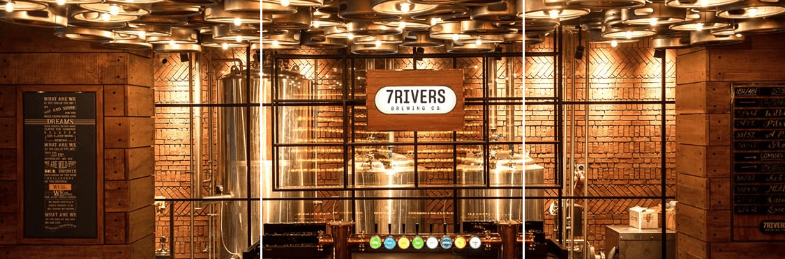 Picture showcasing the main beer brewing area of 7 Rivers