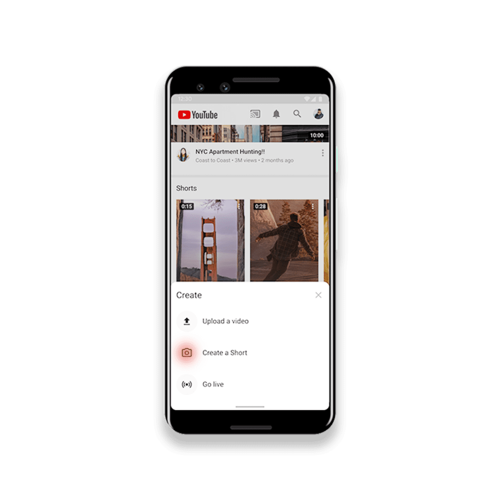 A phone showing the layout of the new Youtube feature - Reels