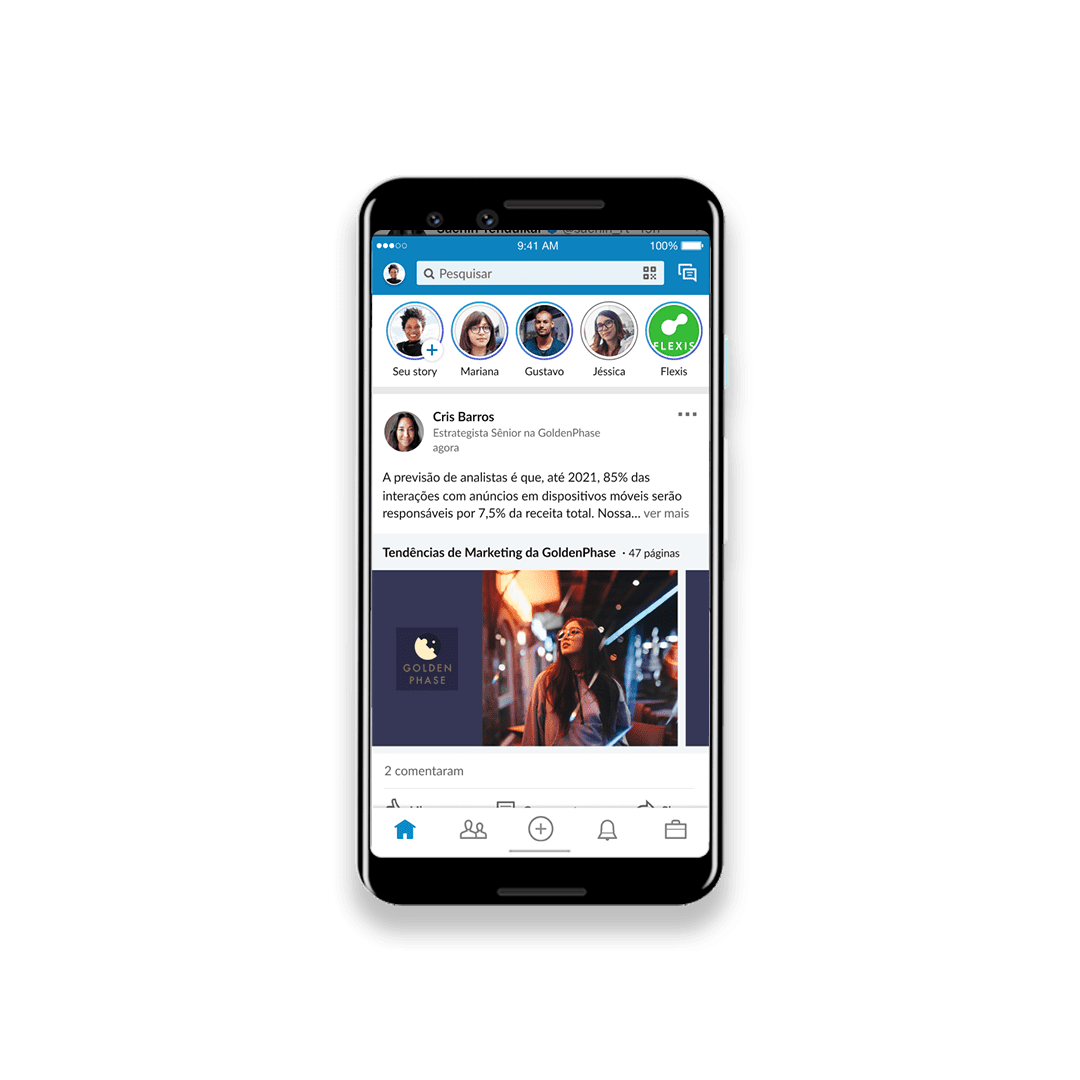 Phone showing the new layout of Linkedin Stories Feature